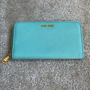 Miu Miu Mint Green Zipper Wallet